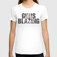 guns T-shirts featuring Guns Blazing by DeMoose_Art