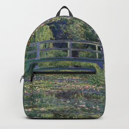 Water Lilies and the Japanese Bridge by Claude Monet Backpack