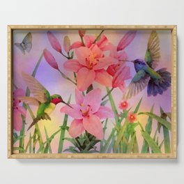 Painterly Hummingbirds And Flowers Serving Tray