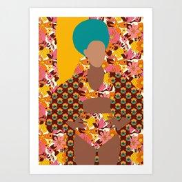 Tulip Kimono and Retro Floral Wallflower Art Print