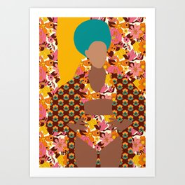 Tulip Kimono and Retro Floral Wallflower Art Print