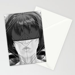 Beautiful Fractal Feathers for Major Motoko in Black and White Stationery Cards