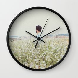 Man - Flowers - Field - Photography Wall Clock