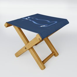 Sitting Cat from behind in Blue Folding Stool