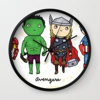 super heroes Wall Clocks featuring Super Cute Heroes: Avengers! by Kayla Dolby