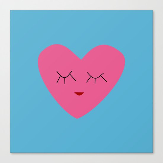 valentines heart blue Canvas Print