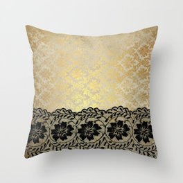 Black floral luxury lace on gold damask pattern Throw Pillow