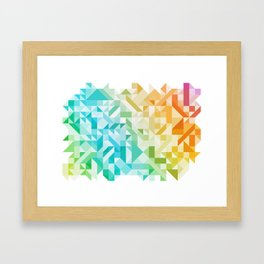 Colorful Geometric Pattern Saturated Rainbow Pattern Design (Red Pink Orange Yellow Green Blue) Framed Art Print