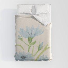 Watercolor Garden Flower Blue Cornflower Wildflower Duvet Cover