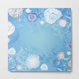 Blue background with seashells Metal Print