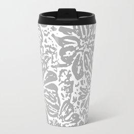 Marigold Lino Cut, Cloud Grey Travel Mug