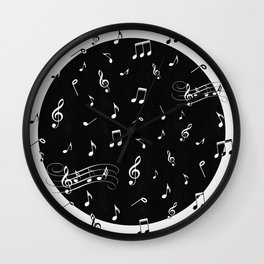 Music White and Black Wall Clock