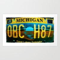 michigan Art Prints featuring Michigan by Vivian Fortunato