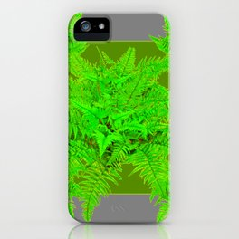 REFRESHING  NATURAL GREEN FERNS  GREY ART iPhone Case