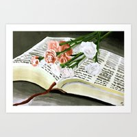 Flowers on Bible Painting  Art Print