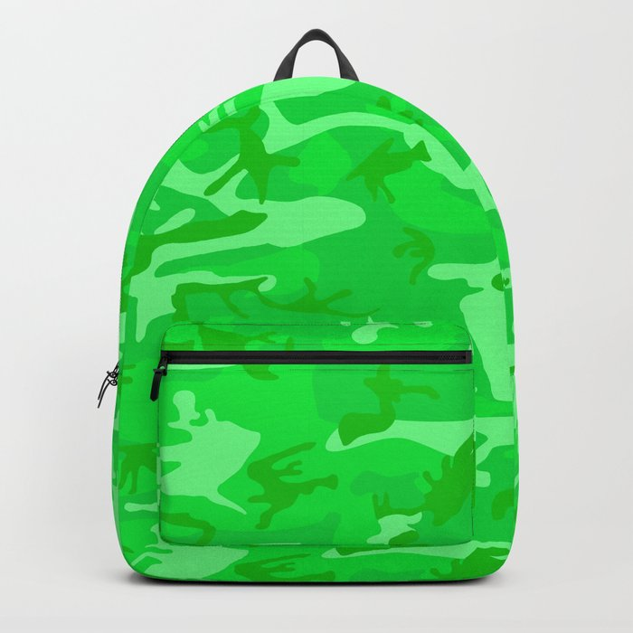 Bright Colorful Green Camo Pattern Rucksack