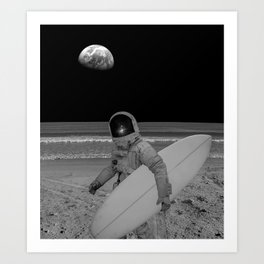 Moon surfer Art Print
