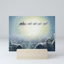 Holiday Christmas Santa Sleigh Reindeer Painting Mini Art Print
