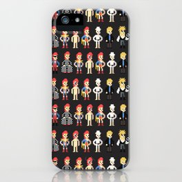 Bowie pixel characters iPhone Case