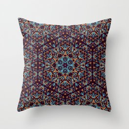 Brown and blue geometric Mandala Rich ornament Throw Pillow