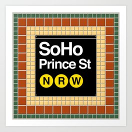 subway soho sign Art Print