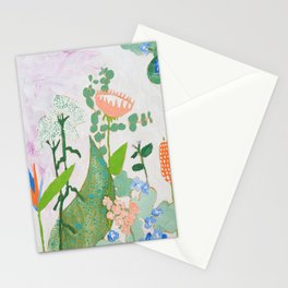 Multi Floral Painting on Pink and White Background Stationery Cards