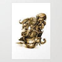 Dragon vs Octopus (sepia) Art Print