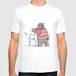 Bear with snowman T-shirt