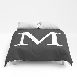 Very Dark Gray Basic Monogram M Comforters