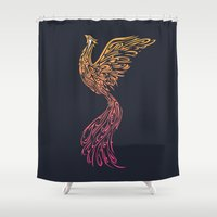 phoenix Shower Curtains featuring Phoenix by Freeminds