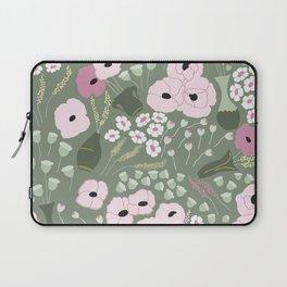 Pink Poppies - kaki floral pattern Laptop Sleeve