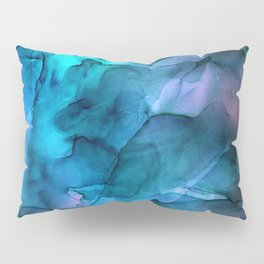 Abstract Ink Blue Turquoise Pink Marble Pillow Sham