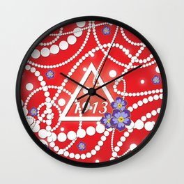 Crimson and Pearls Wall Clock