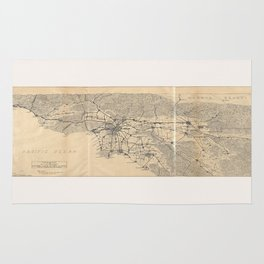 Vintage 1915 Los Angeles Area Map Rug