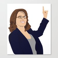 tina fey Canvas Prints featuring Tina Fey by laurenmakesstuff