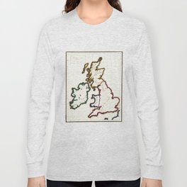 Vintage Map of The British Isles (1860) Long Sleeve T-shirt