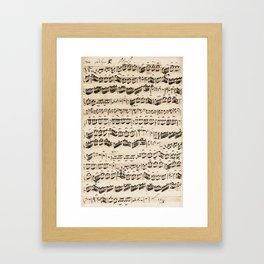 Johann Sebastian Bach (1685 – 1750) original music sheet Framed Art Print