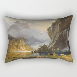 Albert Bierstadt - Indians Spear Fishing (1862) Rectangular Pillow