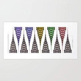 Chrysler Building Design with Opposing Color Elements Art Print
