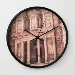Camels at Petra | Vintage Stunning Stone Monument Hidden Lost City Treasury Carved Cliff Wall Clock