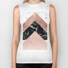Modern rose gold glitter foil black white marble geometric minimalist triangles color block Biker Tank