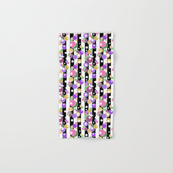 Colorful polka dots on black and white striped background . Hand & Bath Towel