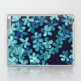Hand Painted Floral Pattern in Teal & Navy Blue Laptop & iPad Skin