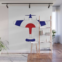 World War 2 Fighter Red White Blue Silhouette Wall Mural