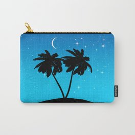 Palm Tree Silhouette Against Evening Blue with Stars Carry-All Pouch