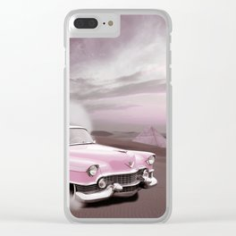 pink cadillac and the Giza Pyramids Clear iPhone Case