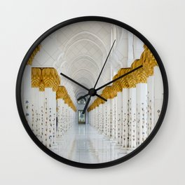 Down the golden white Wall Clock