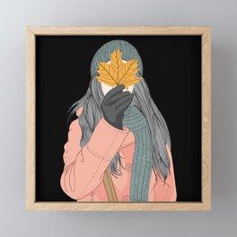 Wall art Girl holding leaves in autumn Framed Mini Art Print
