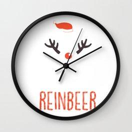 Reinbeer Funny Christmas Gift Santa Hat Antler Wall Clock