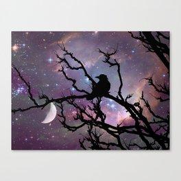 Surreal Black Bird Crow Stars Night Moon Art A492 Canvas Print